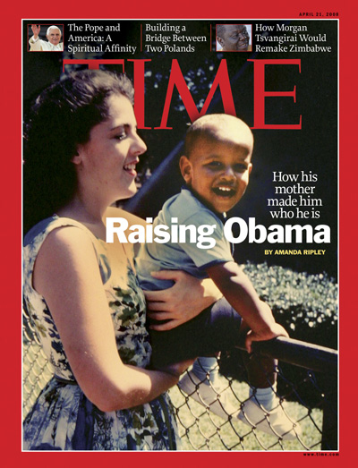 A childhood photo of Obama being held by his mother
