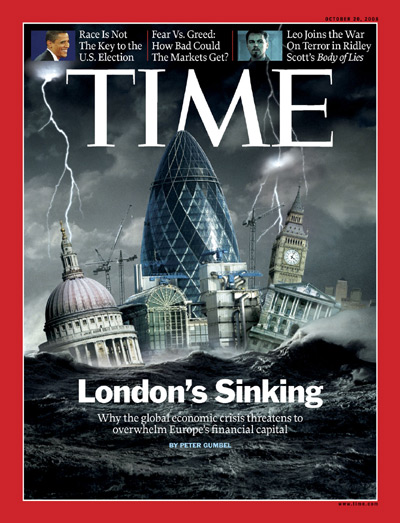 A picture depicting London in a turbulent sea.