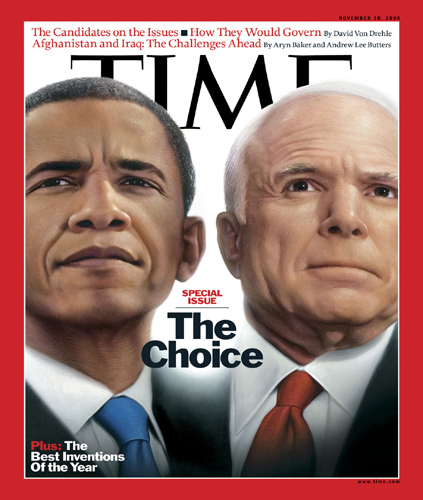 Close-up of Barack Obama and John McCain