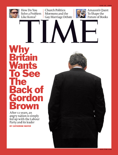 A picture of British Prime Minister Gordon Browns back.