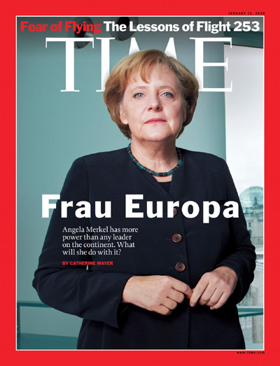 A portrait of Angela Merkel.