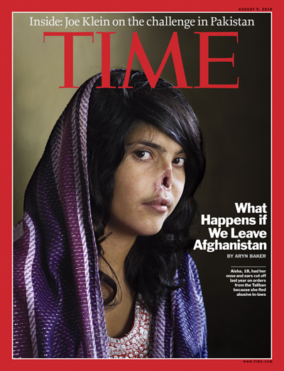 Young Afghan girl, Aisha, pictured with nose and ears cut off