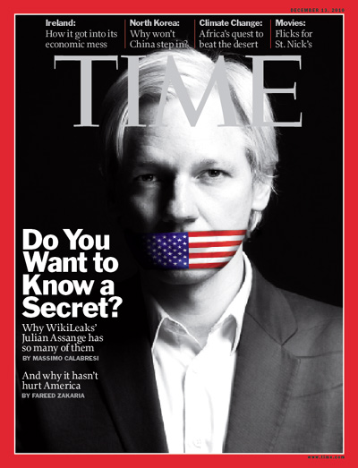 photo-illustration of Julian Assange gagged with a U.S. flag