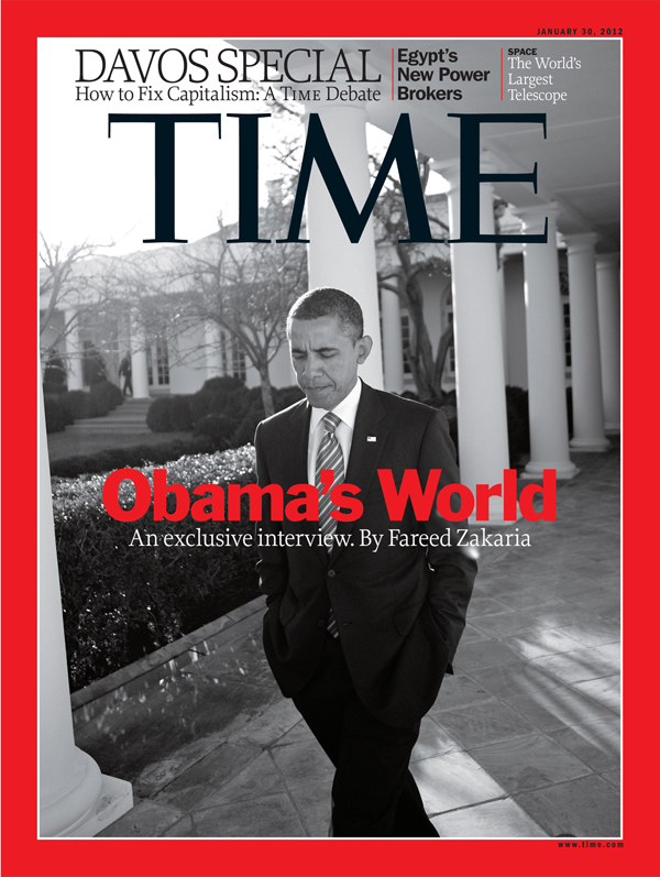 Close up of Obama outside the White House