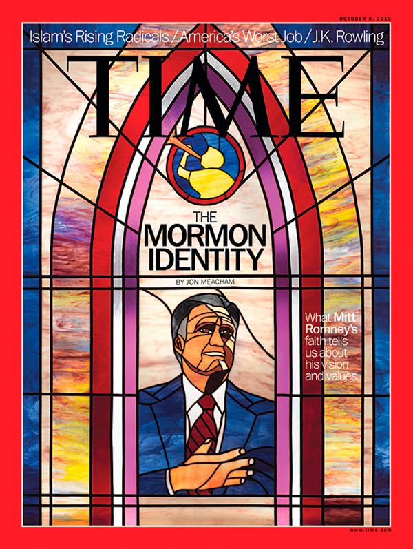 Portrait of Mitt Romney in stained glass