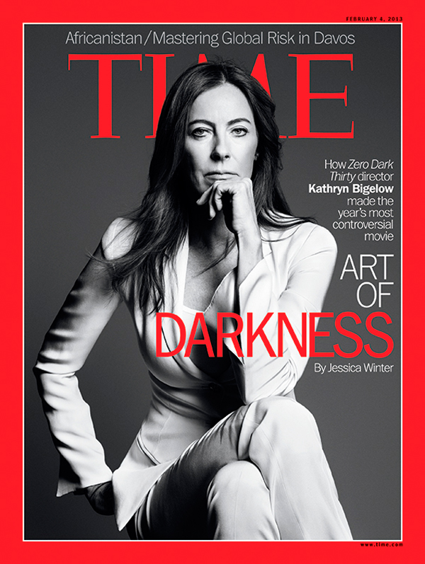 Black and white portrait of Kathryn Bigelow