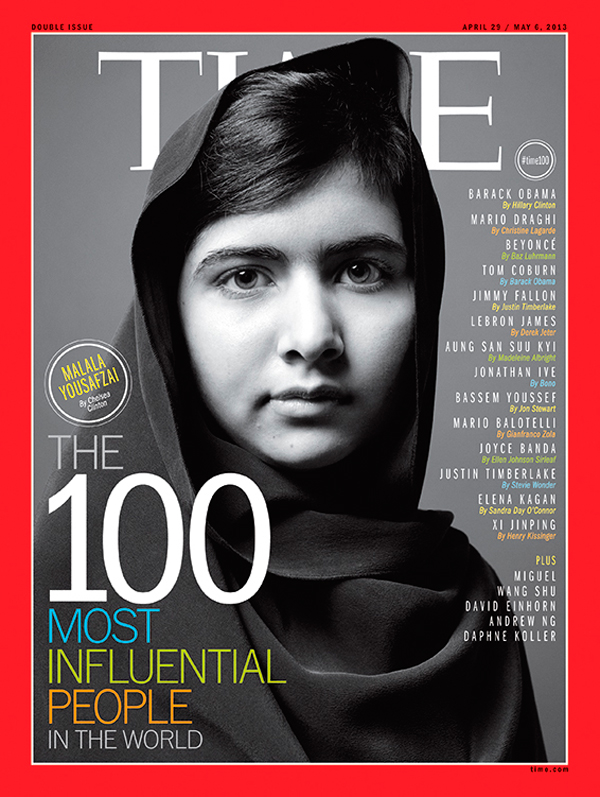 B/W photographs of Malala Yousafzai, Jay Z, Li Na, Aamir Khan and Elon Musk