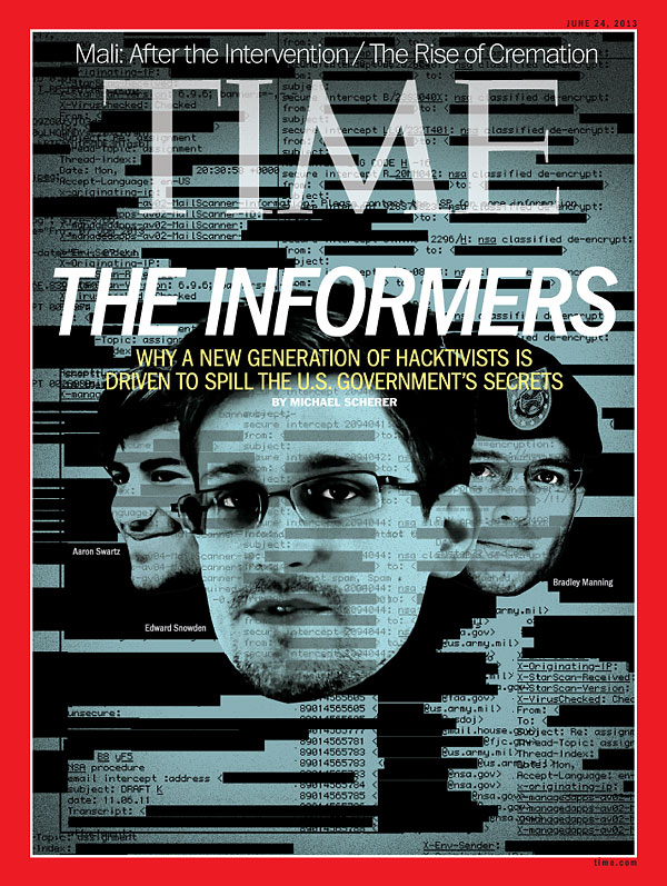 A photo-illustration of the heads of Edward Snowden, Bradley Manning and Aaron Swartz