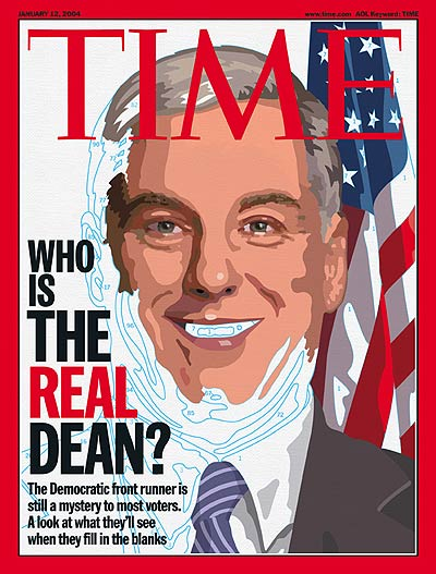 Partially finished portrait of Howard Dean.