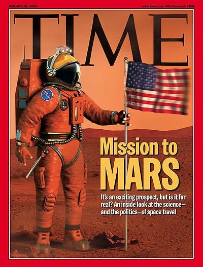 An illustration showing an astronaut on the surface of Mars with an American flag.