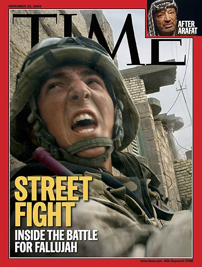 A U.S. soldier takes cover during fighting in Fallujah.