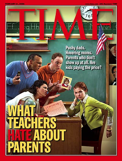 A photo illustration showing parents badgering a teacher.