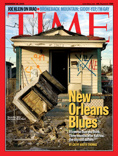 A photo of a house damaged by Hurricane Katrina.