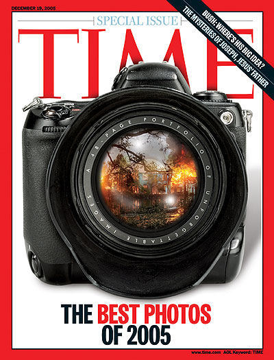 A photo of a battered camera with an image from Hurricane Katrina superimposed on the lens.