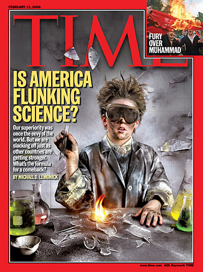 Photo of a young boy with an exploded science experiment.