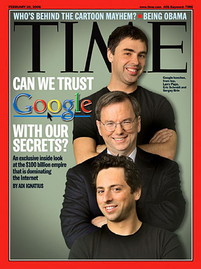 Google honchos, from top, Larry Page, Eric Schmidt and Sergey Brin