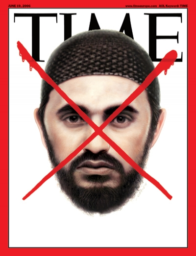 A picture of Abu Mousab al-Zarqawi, crossed out by a red x.