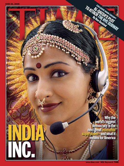 Picture of an Indian woman wearing a phone headset.