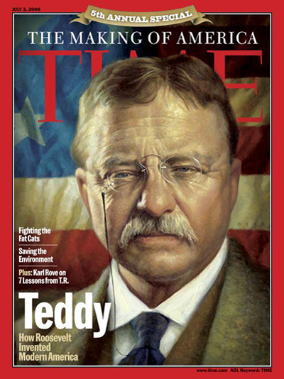 A painted portrait of Teddy Roosevelt.