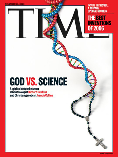 Picture of DNA strand connecting to a crucifix