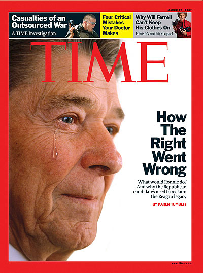 Close up photo of Ronald Reagan with a tear running down his cheek