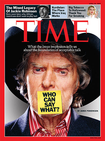 Who Can Say What?  A close up photo of Don Imus with a yellow post-it note covering his mouth. Adhesive note from Getty
