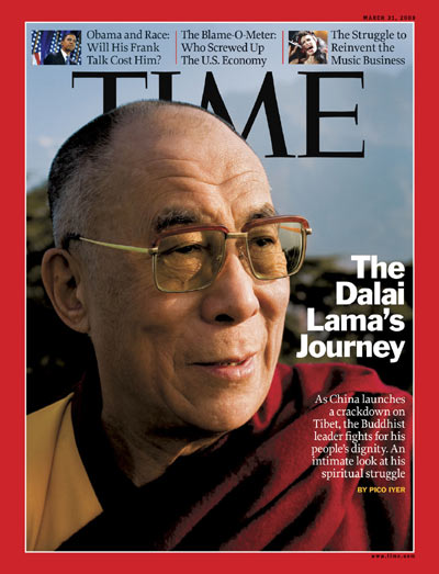 A close-up photo of the Dalai Lama.