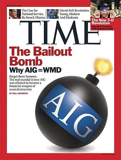 A lit bomb with AIG's logo on it.