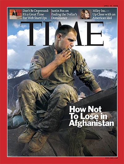 A U.S. soldier smokes a cigarette in Afghanistan.