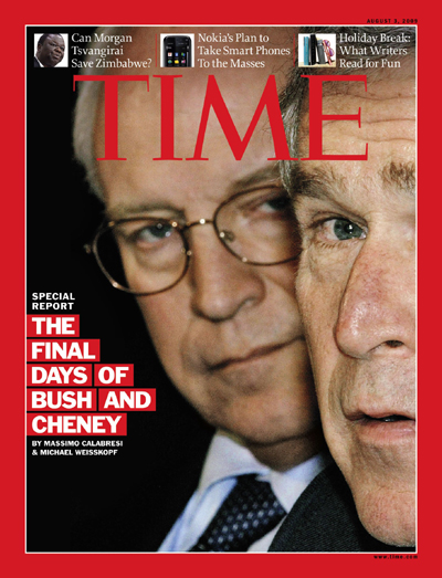 Close-up of George W. Bush and Dick Cheney