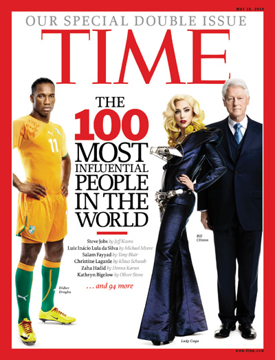 A photomontage of Didier Drogba, Lady Gaga and Bill Clinton.