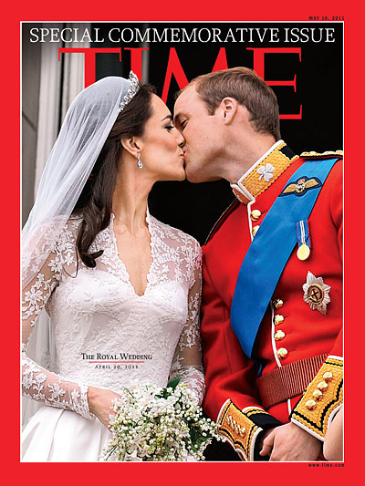 Prince William and Kate Middleton share a kiss