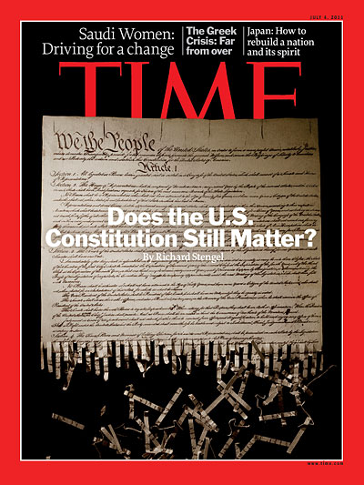 Photo illustration of the U.S. Constitution being shredded