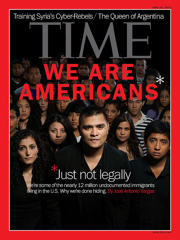 Photograph of Jose Antonio Vargas standing with other undocumented immigrants