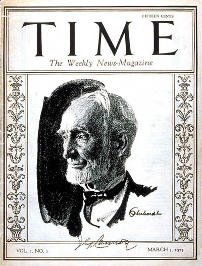 Retiring Speaker of the House.  First issue of TIME