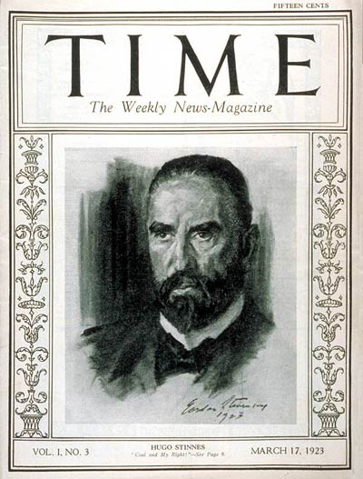 TIME Magazine Cover: Hugo Stinnes -- Mar. 17, 1923