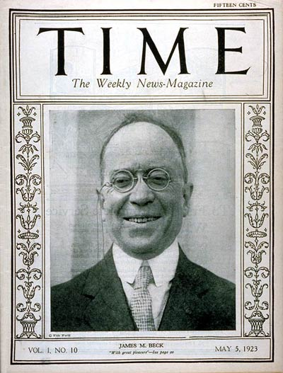 TIME Magazine Cover: James M. Beck -- May 5, 1923
