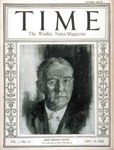 TIME Magazine Cover: John Barton Payne -- May 12, 1923