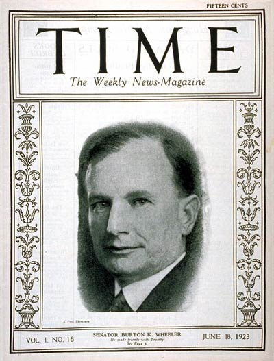 TIME Magazine Cover: Burton K. Wheeler -- June 18, 1923
