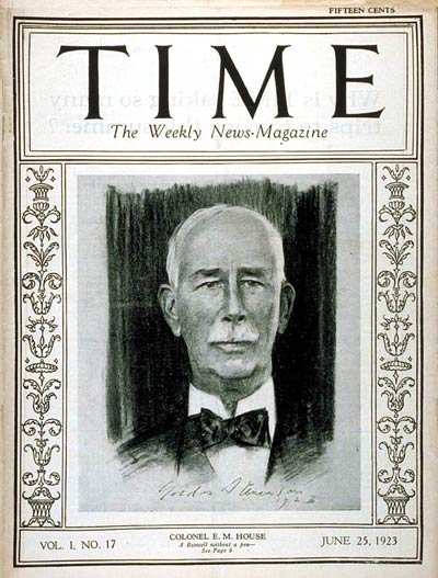 TIME Magazine Cover: Colonel Edward M. House -- June 25, 1923