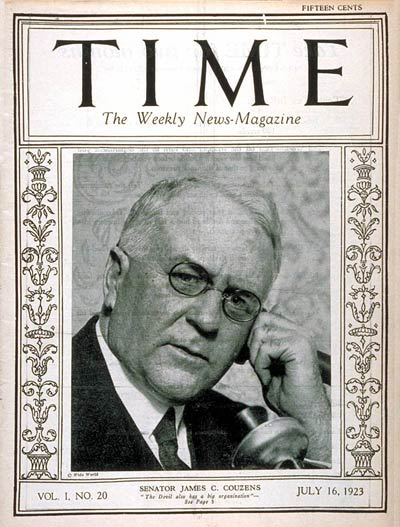 TIME Magazine Cover: Senator James Couzens -- July 16, 1923