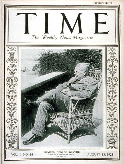 TIME Magazine Cover: Samuel George Blythe -- Aug. 13, 1923