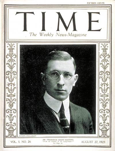 TIME Magazine Cover: Frederick G. Banting -- Aug. 27, 1923