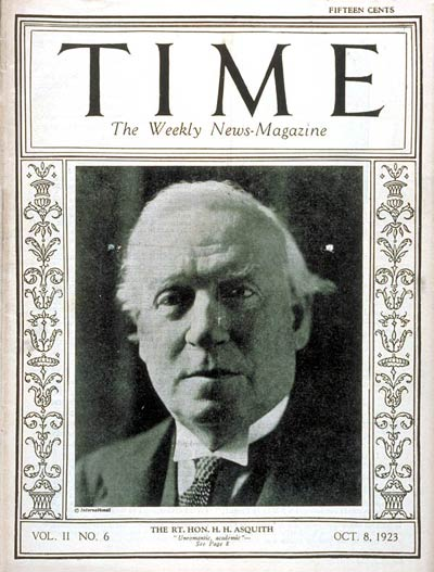 TIME Magazine Cover: Herbert H. Asquith -- Oct. 8, 1923