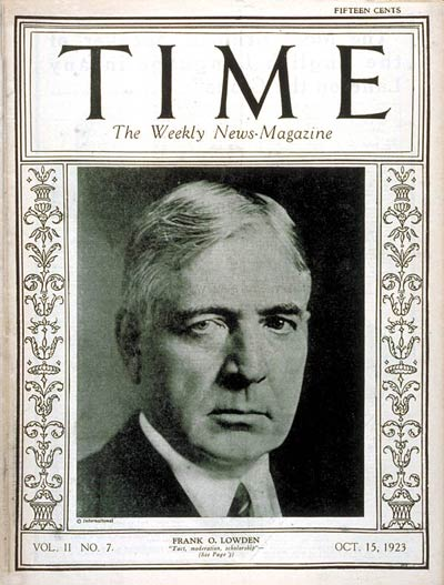 TIME Magazine Cover: Frank O. Lowden -- Oct. 15, 1923