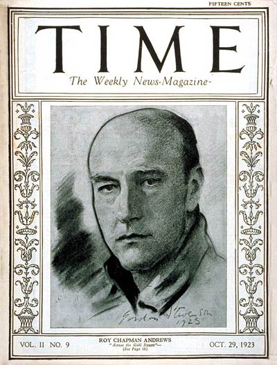 TIME Magazine Cover: Roy Chapman Andrews -- Oct. 29, 1923