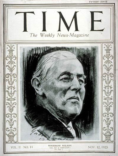 TIME Magazine Cover: Woodrow Wilson -- Nov. 12, 1923