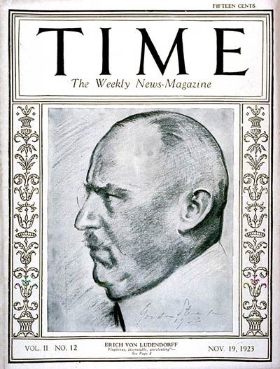 TIME Magazine Cover: General Erich von Ludendorff -- Nov. 19, 1923