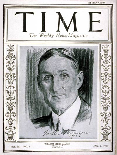 TIME Magazine Cover: William G. McAdoo -- Jan. 7, 1924