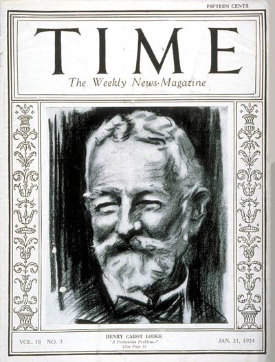 TIME Magazine Cover: Henry Cabot Lodge -- Jan. 21, 1924